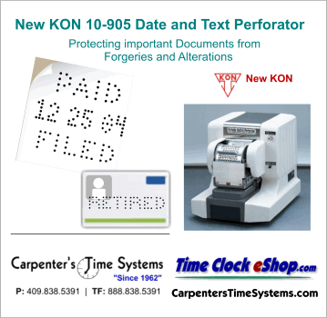 Widmer New Kon Date Text Numbering Perforators