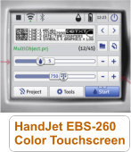 HandJet EBS-260 InkJet Printer has Color Touchscreen